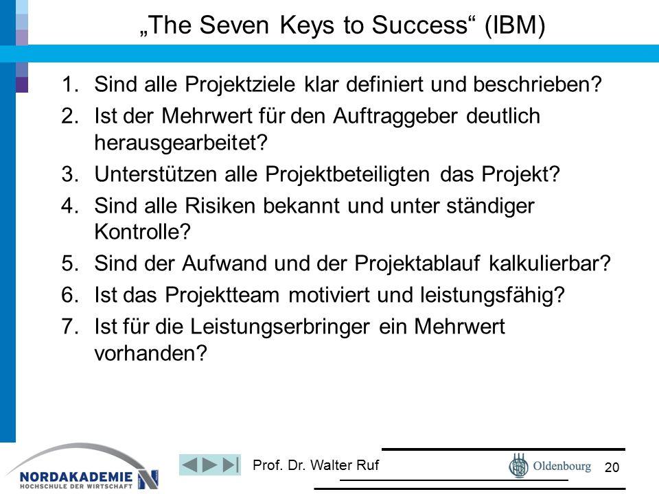 """Prof. Dr. Walter Ruf """"The Seven Keys to Success"""" (IBM) 1.Sind alle Projektziele klar definiert und beschrieben? 2.Ist der Mehrwert für den Auftraggebe"""