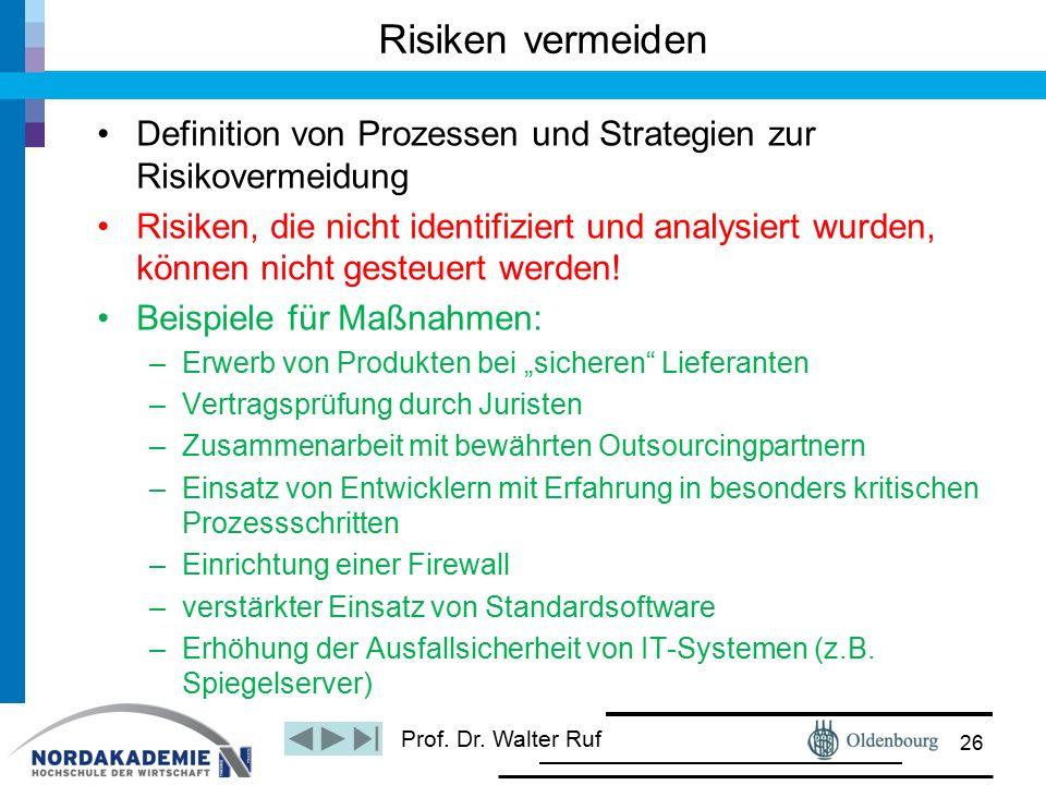 Prof. Dr. Walter Ruf Risiken vermeiden Definition von Prozessen und Strategien zur Risikovermeidung Risiken, die nicht identifiziert und analysiert wu