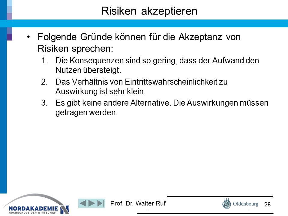 Prof. Dr. Walter Ruf Risiken akzeptieren Folgende Gründe können für die Akzeptanz von Risiken sprechen: 1.Die Konsequenzen sind so gering, dass der Au