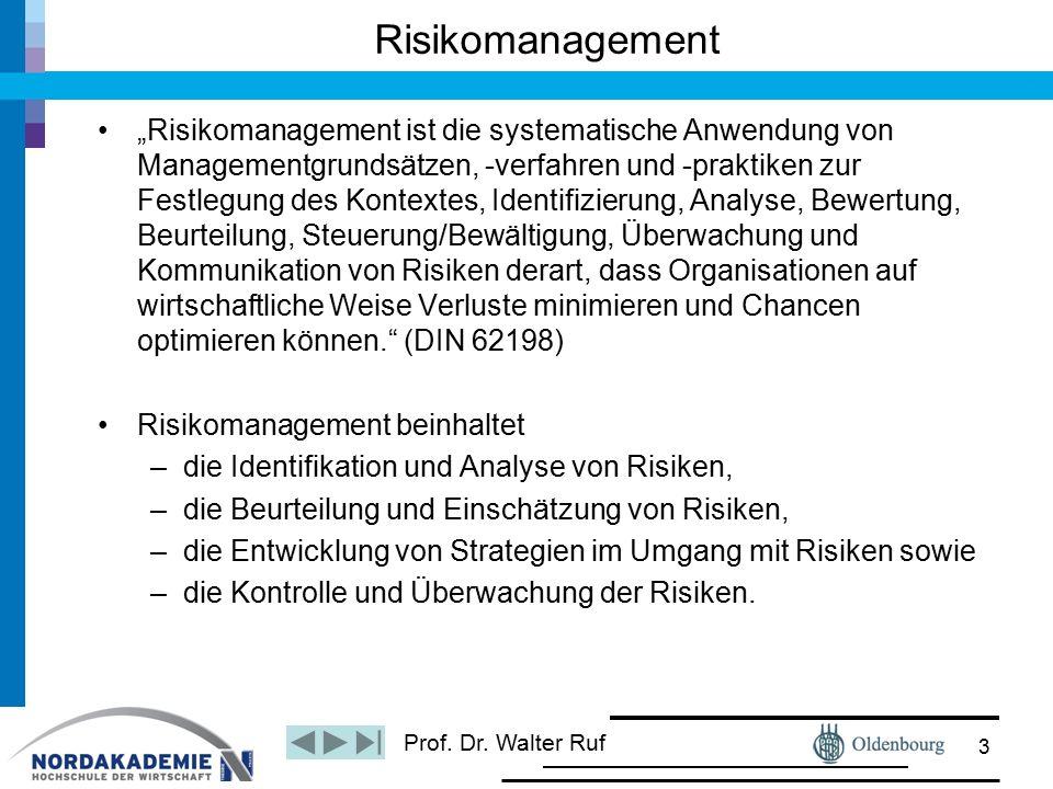 """Prof. Dr. Walter Ruf Risikomanagement """"Risikomanagement ist die systematische Anwendung von Managementgrundsätzen, -verfahren und -praktiken zur Festl"""