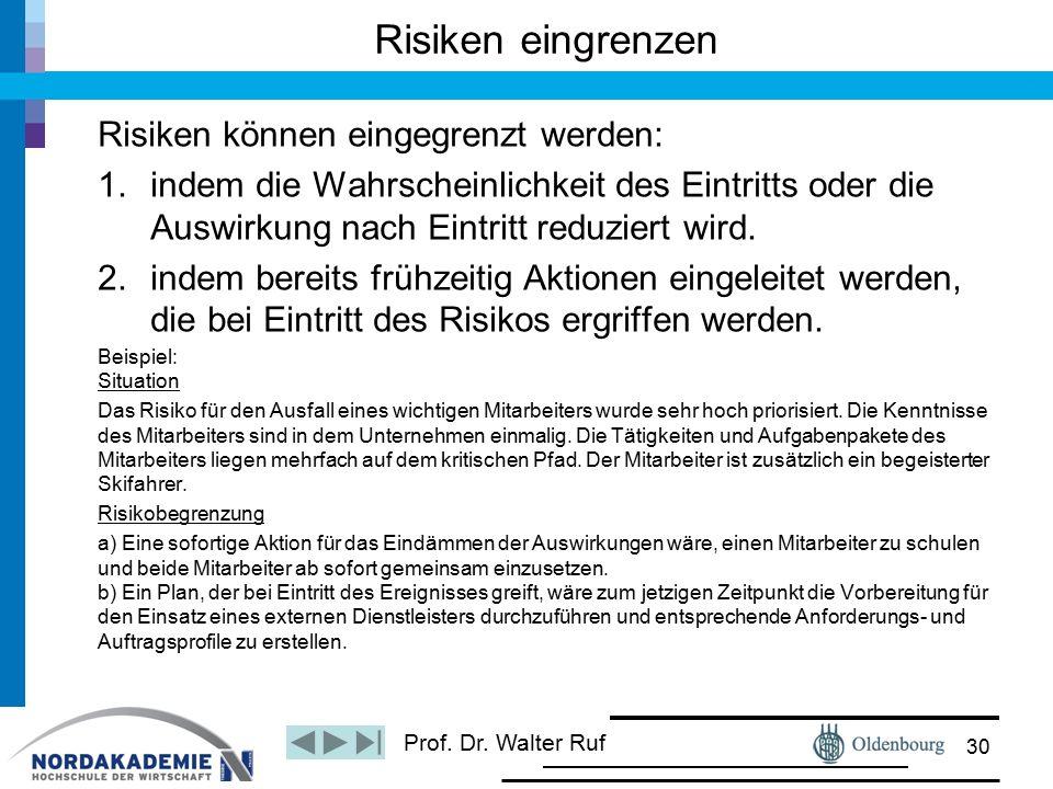 Prof. Dr. Walter Ruf Risiken eingrenzen Risiken können eingegrenzt werden: 1.indem die Wahrscheinlichkeit des Eintritts oder die Auswirkung nach Eintr