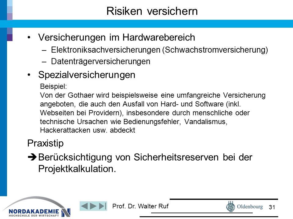 Prof. Dr. Walter Ruf Risiken versichern Versicherungen im Hardwarebereich –Elektroniksachversicherungen (Schwachstromversicherung) –Datenträgerversich