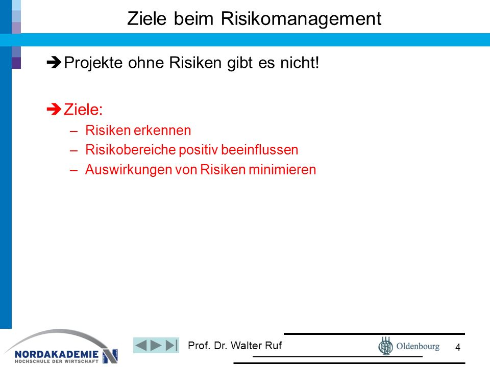 Prof. Dr. Walter Ruf Ziele beim Risikomanagement  Projekte ohne Risiken gibt es nicht!  Ziele: –Risiken erkennen –Risikobereiche positiv beeinflusse