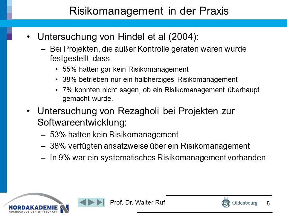 Prof. Dr. Walter Ruf Risikomanagement in der Praxis Untersuchung von Hindel et al (2004): –Bei Projekten, die außer Kontrolle geraten waren wurde fest