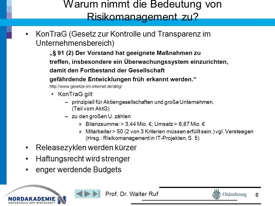 Prof. Dr. Walter Ruf Warum nimmt die Bedeutung von Risikomanagement zu? KonTraG (Gesetz zur Kontrolle und Transparenz im Unternehmensbereich) 㤠91 (2