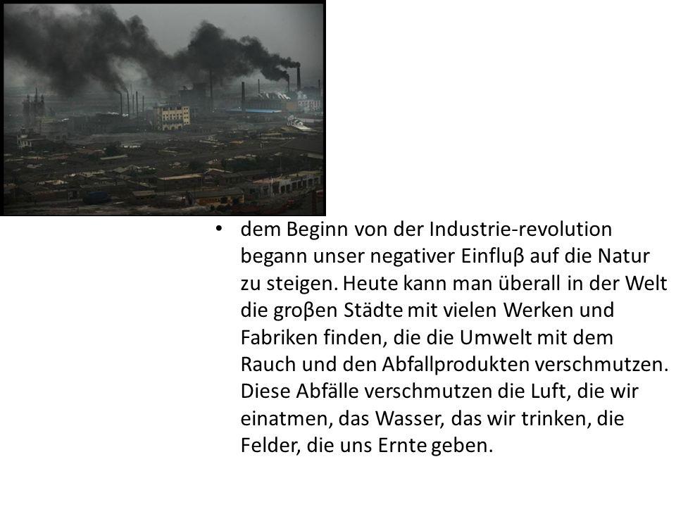 dem Beginn von der Industrie-revolution begann unser negativer Einfluβ auf die Natur zu steigen. Heute kann man überall in der Welt die groβen Städte