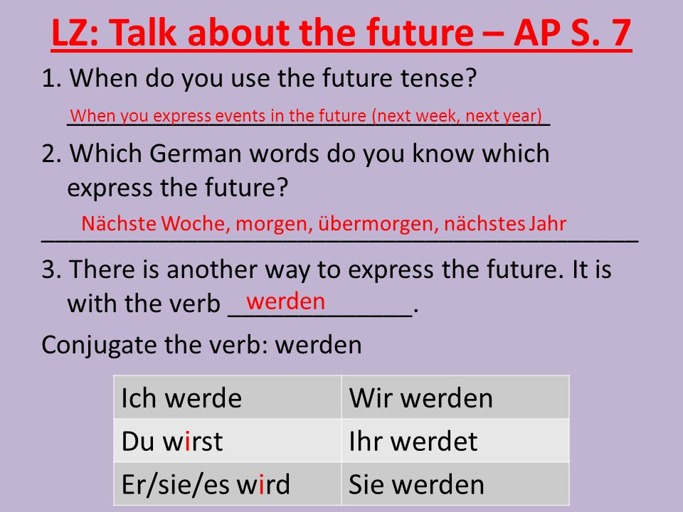 LZ: Talk about the future – AP S.7 1. When do you use the future tense.