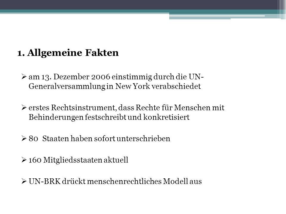 1. Allgemeine Fakten  am 13. Dezember 2006 einstimmig durch die UN- Generalversammlung in New York verabschiedet  erstes Rechtsinstrument, dass Rech