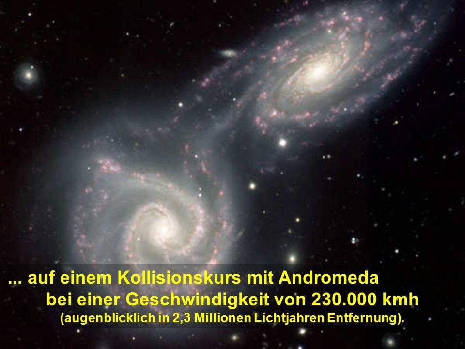 Die Milchstraße schwebt frei im Weltraum, in der Bewegung der Expansion des Universums.