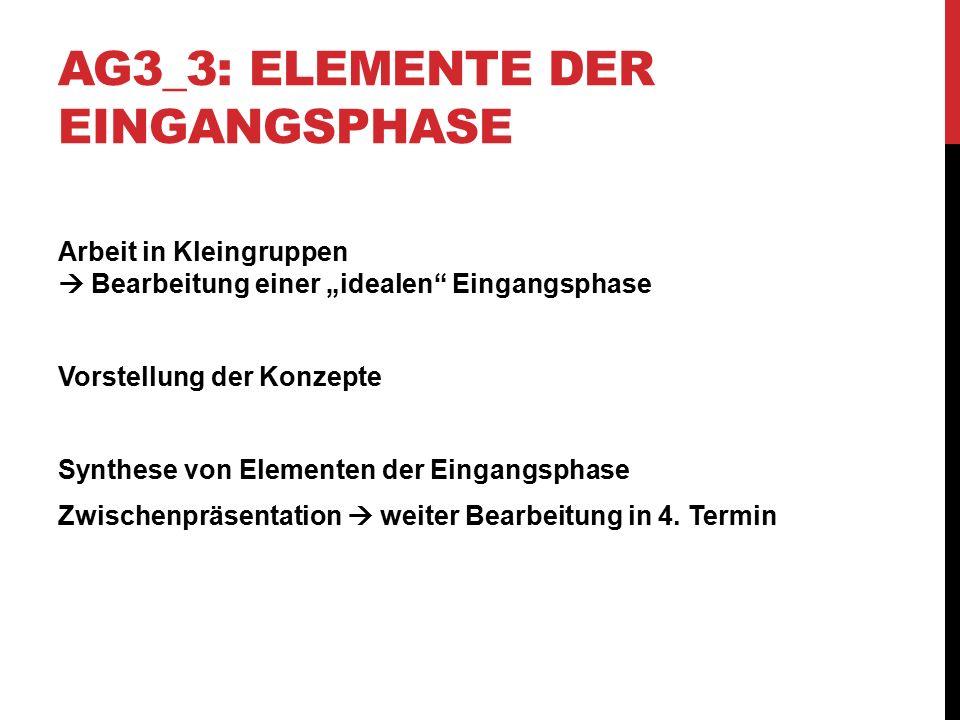 """AG3_3: ELEMENTE DER EINGANGSPHASE Arbeit in Kleingruppen  Bearbeitung einer """"idealen"""" Eingangsphase Vorstellung der Konzepte Synthese von Elementen d"""