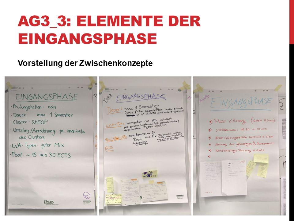 AG3_3: ELEMENTE DER EINGANGSPHASE Vorstellung der Zwischenkonzepte