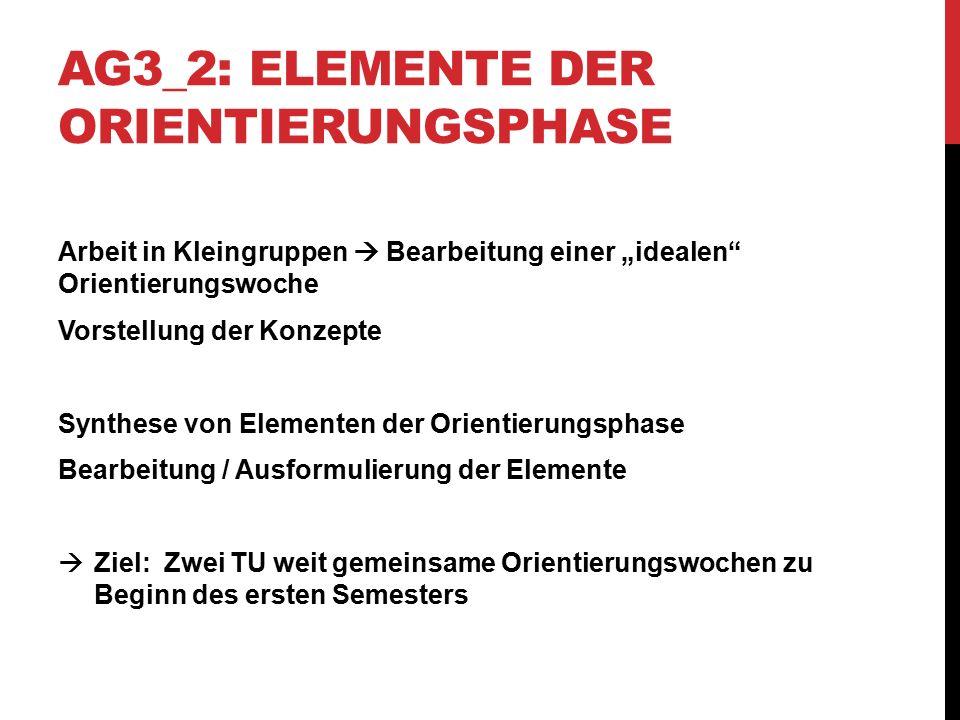 AG3_3: ELEMENTE DER ORIENTIERUNGSPHASE Konkretisierung der Elemente Ergänzung fehlender Inhalte Formulierung von Argumentationslinien Vorschlag einer zeitlichen Reihung (Beginn / Mitte / Ende der Woche)