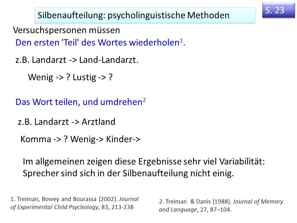 Beispiele phonotaktischer Beschränkungen in deutsch Onset Finale Konsonanten (Coda-Konsonanten) /kn/ aber kein /tn/ nur /m/, nicht /n, ŋ/ vor /p/ ( Lampe ) Reim Onset + Reim Nur ungespannte Vokale vor /ŋ/ ( sang ; aber */i:ŋ/) und vor vielen silbenfinalen K-Clusters (/lf/: Wolf ; aber */u:lf/).