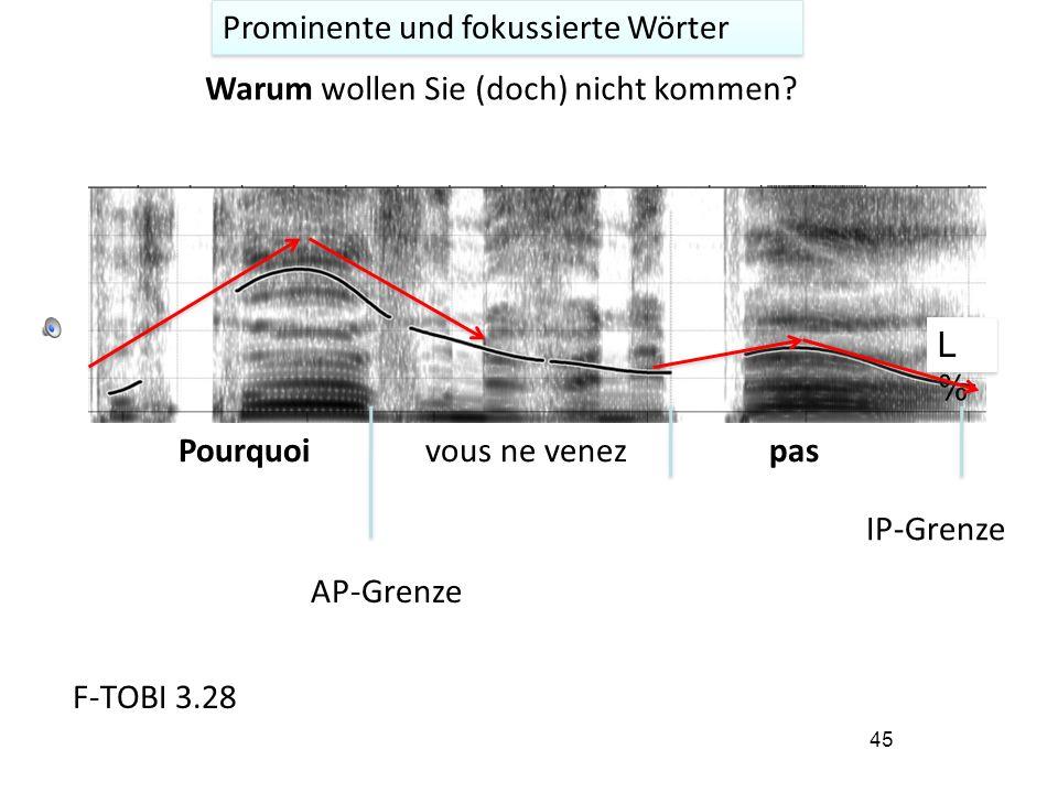 44 Prominente und fokussierte Wörter Im Französischen treten prominente oder eng fokussierte Wörter immer unmittelbar vor einer prosodischen Phrasengrenze (IP) auf.