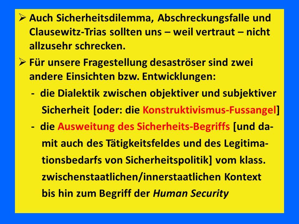  Auch Sicherheitsdilemma, Abschreckungsfalle und Clausewitz-Trias sollten uns – weil vertraut – nicht allzusehr schrecken.  Für unsere Fragestellung