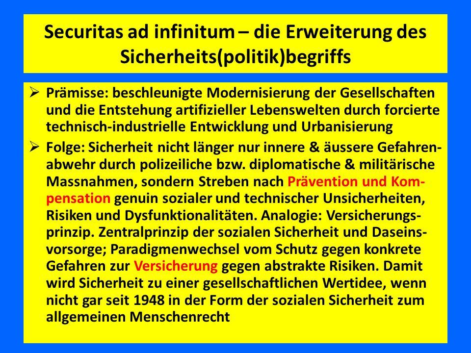 Securitas ad infinitum – die Erweiterung des Sicherheits(politik)begriffs  Prämisse: beschleunigte Modernisierung der Gesellschaften und die Entstehu