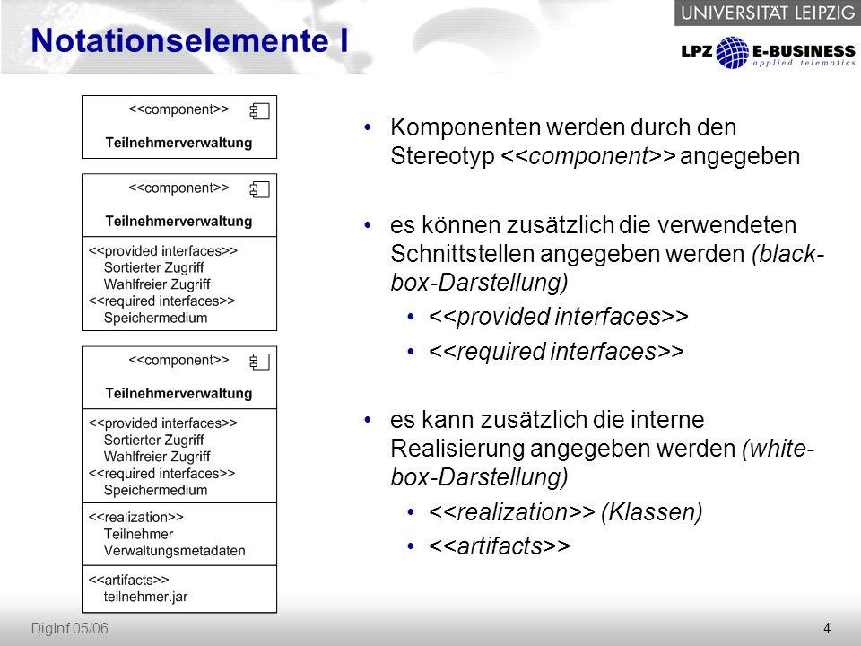 4 DigInf 05/06 Notationselemente I Komponenten werden durch den Stereotyp > angegeben es können zusätzlich die verwendeten Schnittstellen angegeben werden (black- box-Darstellung) > es kann zusätzlich die interne Realisierung angegeben werden (white- box-Darstellung) > (Klassen) >