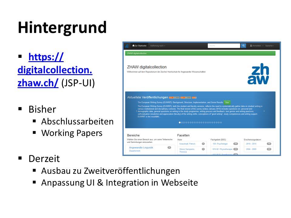 Use Case  Eindeutige Publikationsliste auf Personenporträt im Webauftritt  Beispiel: https://www.zhaw.ch/ de/ueber- uns/person/wysv/ https://www.zhaw.ch/ de/ueber- uns/person/wysv/