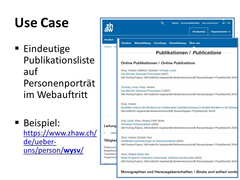 Use Case  Eindeutige Publikationsliste auf Personenporträt im Webauftritt  Beispiel: https://www.zhaw.ch/ de/ueber- uns/person/wysv/ https://www.zha