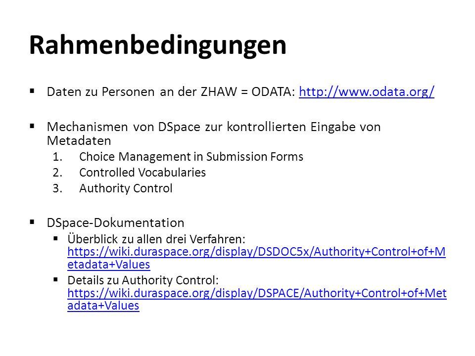 Umsetzung 1.Implementierung eines ChoiceAuthority Plug-Ins 2.Konfiguration für das Plugin erstellen 3.Plugin in Konfiguration einbinden / aktivieren 4.Übersetzungen anpassen / einfügen 5.Testen & Bugs fixen & freuen