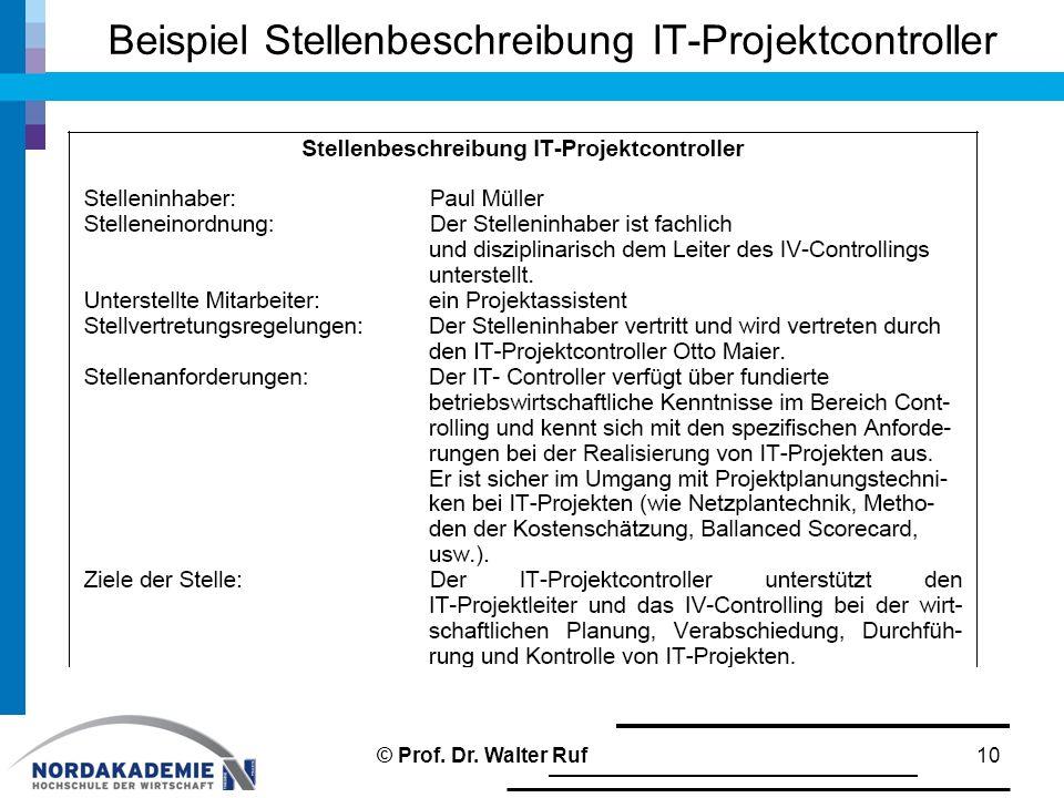 Beispiel Stellenbeschreibung IT-Projektcontroller 10© Prof. Dr. Walter Ruf