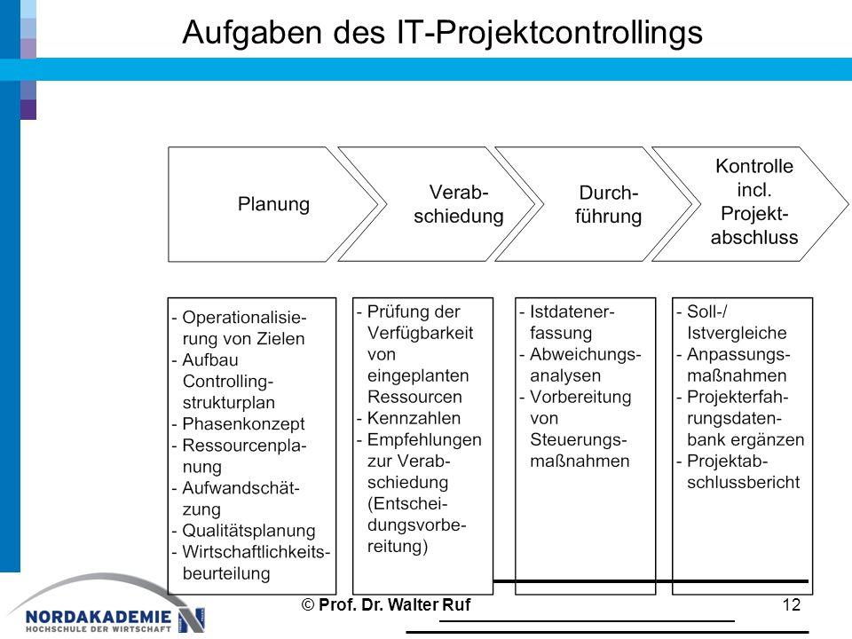 Aufgaben des IT-Projektcontrollings 12© Prof. Dr. Walter Ruf