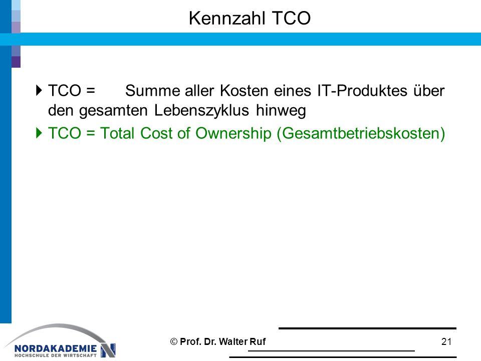  TCO = Summe aller Kosten eines IT-Produktes über den gesamten Lebenszyklus hinweg  TCO = Total Cost of Ownership (Gesamtbetriebskosten) Kennzahl TC