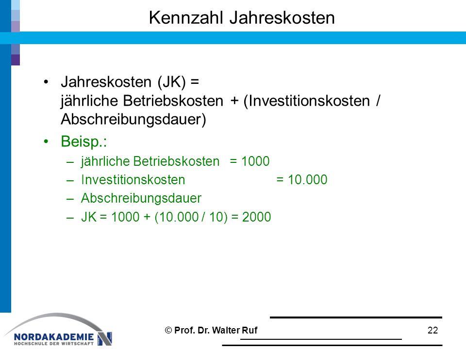 Jahreskosten (JK) = jährliche Betriebskosten + (Investitionskosten / Abschreibungsdauer) Beisp.: –jährliche Betriebskosten = 1000 –Investitionskosten=