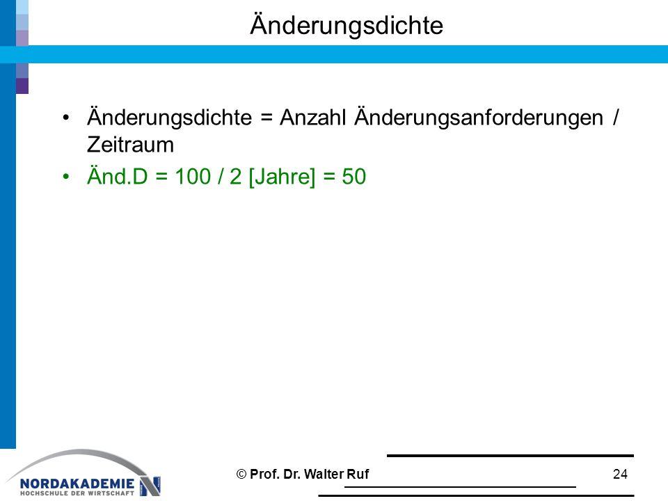 Änderungsdichte = Anzahl Änderungsanforderungen / Zeitraum Änd.D = 100 / 2 [Jahre] = 50 Änderungsdichte 24© Prof. Dr. Walter Ruf