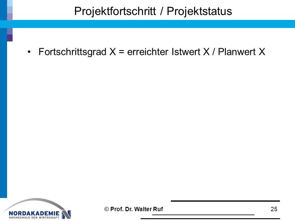 Fortschrittsgrad X = erreichter Istwert X / Planwert X Projektfortschritt / Projektstatus 25© Prof. Dr. Walter Ruf
