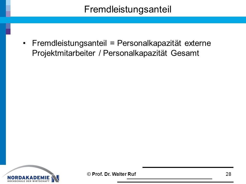 Fremdleistungsanteil = Personalkapazität externe Projektmitarbeiter / Personalkapazität Gesamt Fremdleistungsanteil 28© Prof. Dr. Walter Ruf