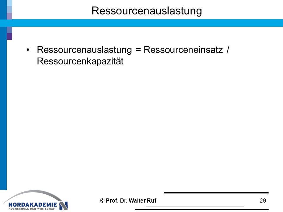 Ressourcenauslastung = Ressourceneinsatz / Ressourcenkapazität Ressourcenauslastung 29© Prof. Dr. Walter Ruf