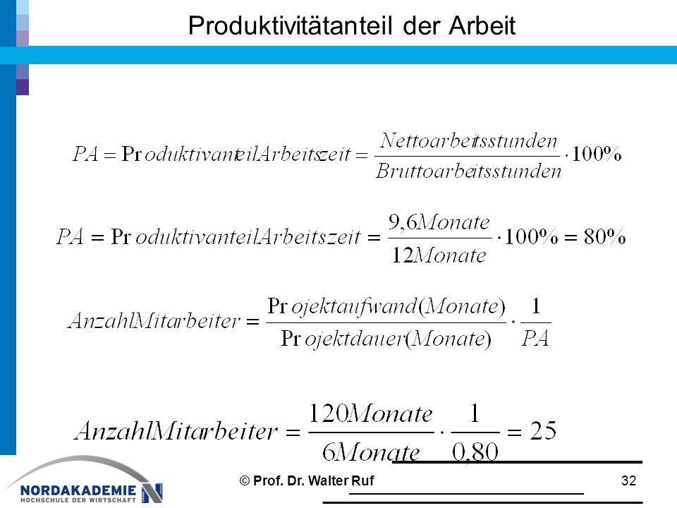 Produktivitätanteil der Arbeit 32© Prof. Dr. Walter Ruf