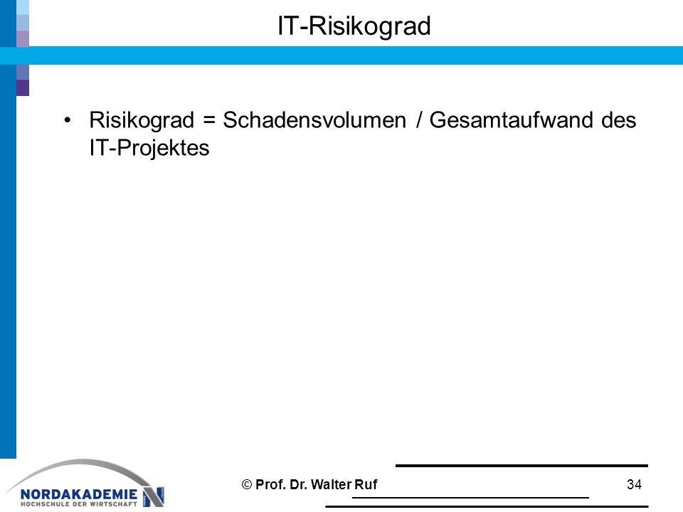 Risikograd = Schadensvolumen / Gesamtaufwand des IT-Projektes IT-Risikograd 34© Prof. Dr. Walter Ruf