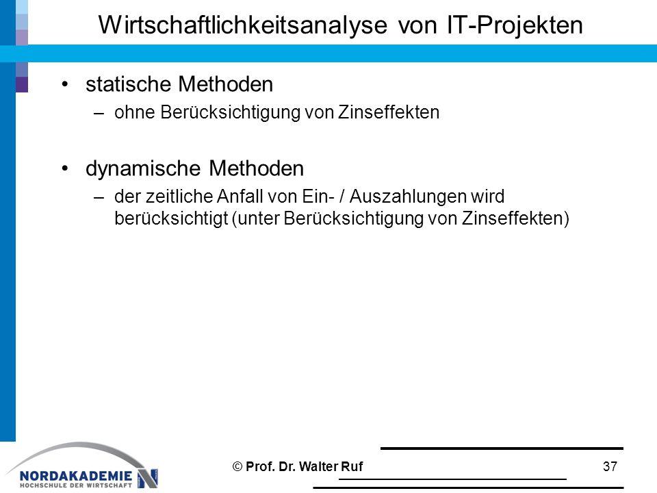 statische Methoden –ohne Berücksichtigung von Zinseffekten dynamische Methoden –der zeitliche Anfall von Ein- / Auszahlungen wird berücksichtigt (unte