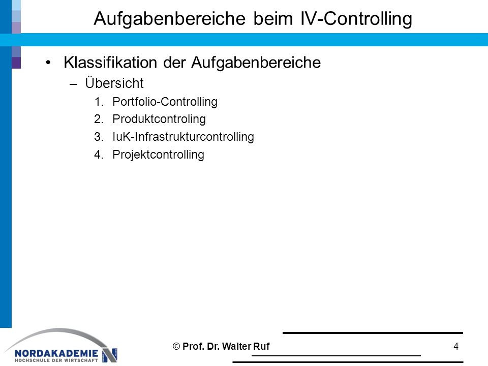 Klassifikation der Aufgabenbereiche –Übersicht 1.Portfolio-Controlling 2.Produktcontroling 3.IuK-Infrastrukturcontrolling 4.Projektcontrolling Aufgabe