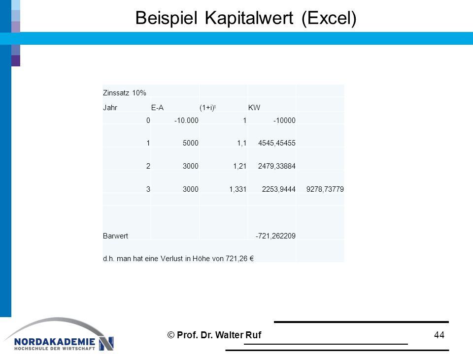 Beispiel Kapitalwert (Excel) 44 Zinssatz 10% JahrE-A(1+i) t KW 0-10.0001-10000 150001,14545,45455 230001,212479,33884 330001,3312253,94449278,73779 Ba