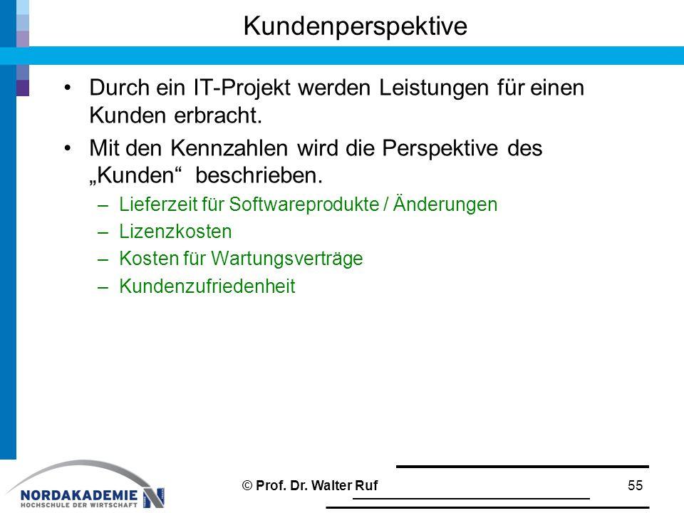 """Durch ein IT-Projekt werden Leistungen für einen Kunden erbracht. Mit den Kennzahlen wird die Perspektive des """"Kunden"""" beschrieben. –Lieferzeit für So"""