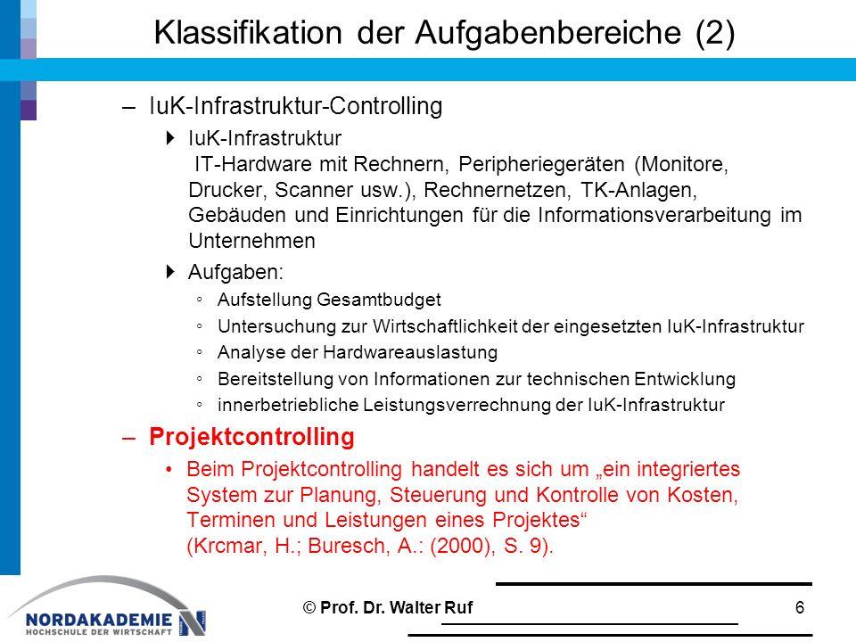 Klassifikation der Aufgabenbereiche (2) –IuK-Infrastruktur-Controlling  IuK-Infrastruktur IT-Hardware mit Rechnern, Peripheriegeräten (Monitore, Druc