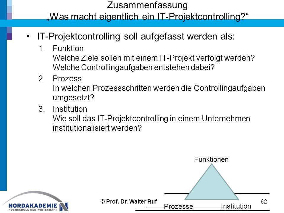 IT-Projektcontrolling soll aufgefasst werden als: 1.Funktion Welche Ziele sollen mit einem IT-Projekt verfolgt werden? Welche Controllingaufgaben ents