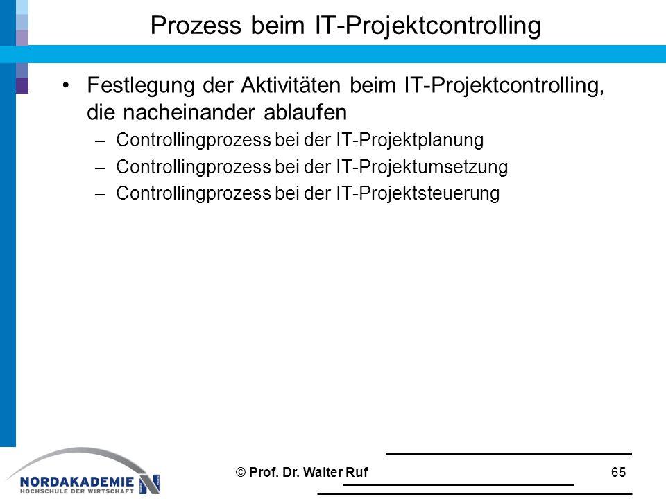Festlegung der Aktivitäten beim IT-Projektcontrolling, die nacheinander ablaufen –Controllingprozess bei der IT-Projektplanung –Controllingprozess bei