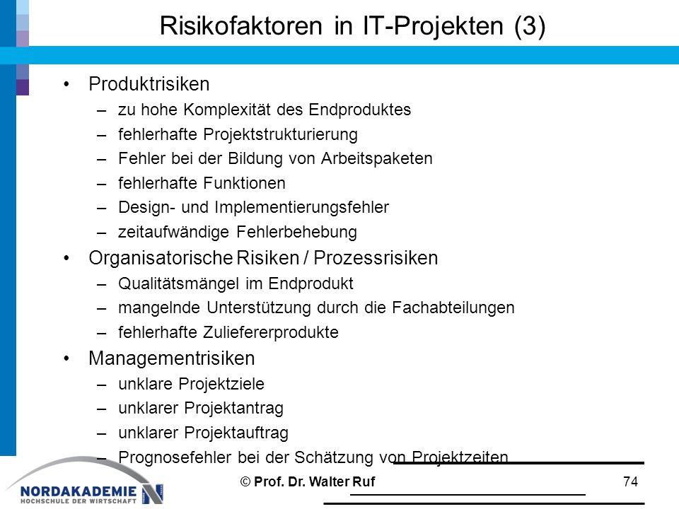 Risikofaktoren in IT-Projekten (3) Produktrisiken –zu hohe Komplexität des Endproduktes –fehlerhafte Projektstrukturierung –Fehler bei der Bildung von