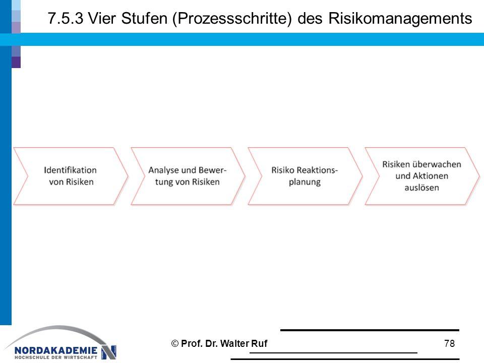 7.5.3 Vier Stufen (Prozessschritte) des Risikomanagements 78© Prof. Dr. Walter Ruf