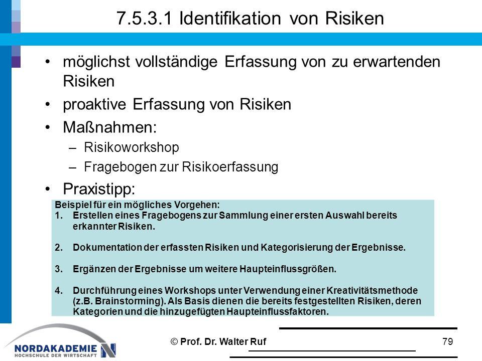 7.5.3.1 Identifikation von Risiken möglichst vollständige Erfassung von zu erwartenden Risiken proaktive Erfassung von Risiken Maßnahmen: –Risikoworks