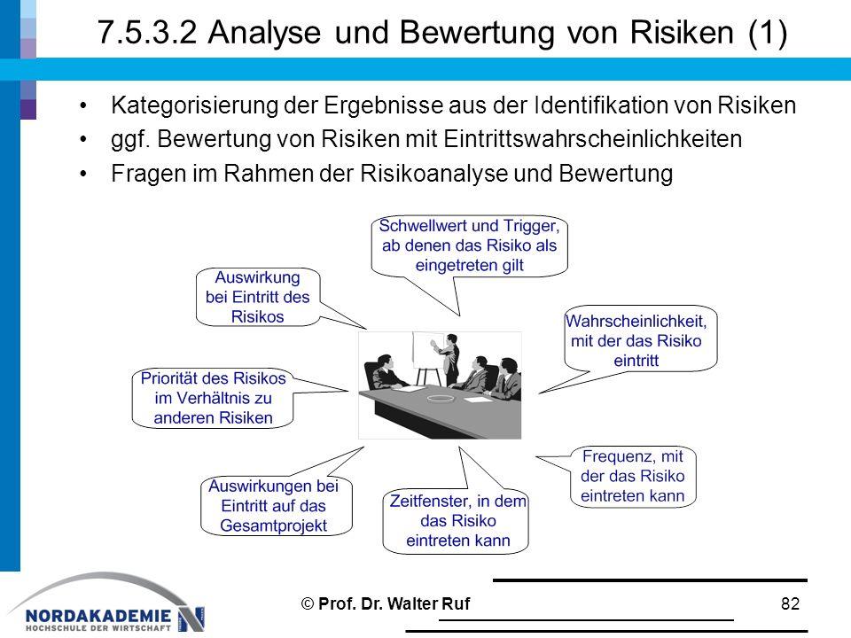 7.5.3.2 Analyse und Bewertung von Risiken (1) Kategorisierung der Ergebnisse aus der Identifikation von Risiken ggf. Bewertung von Risiken mit Eintrit
