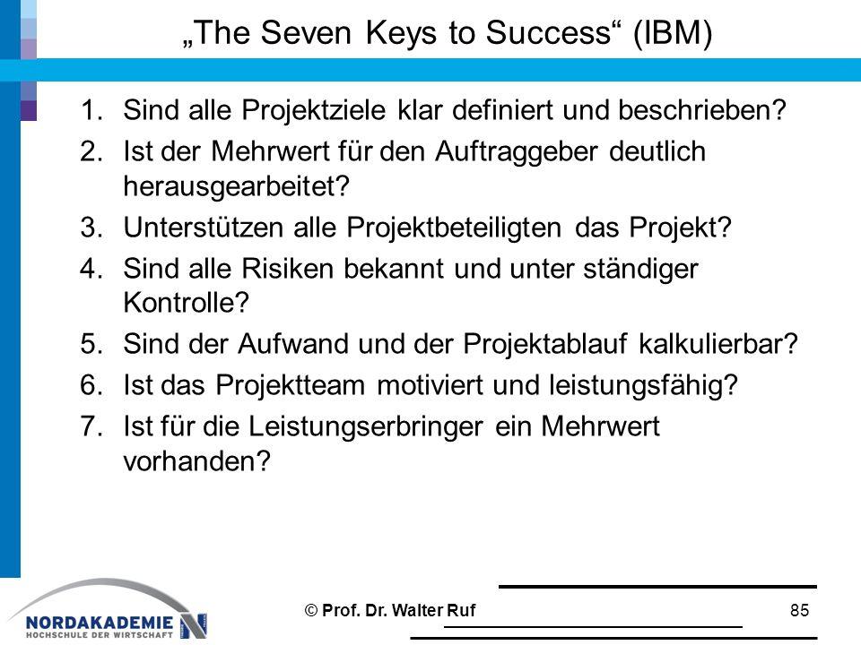 """""""The Seven Keys to Success"""" (IBM) 1.Sind alle Projektziele klar definiert und beschrieben? 2.Ist der Mehrwert für den Auftraggeber deutlich herausgear"""