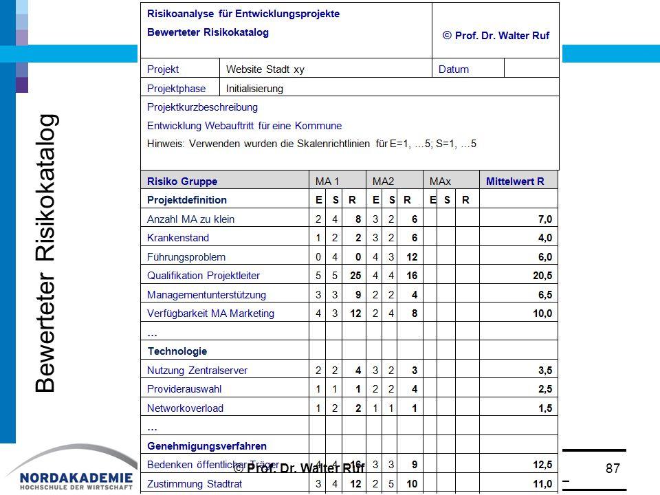 Bewerteter Risikokatalog 87© Prof. Dr. Walter Ruf