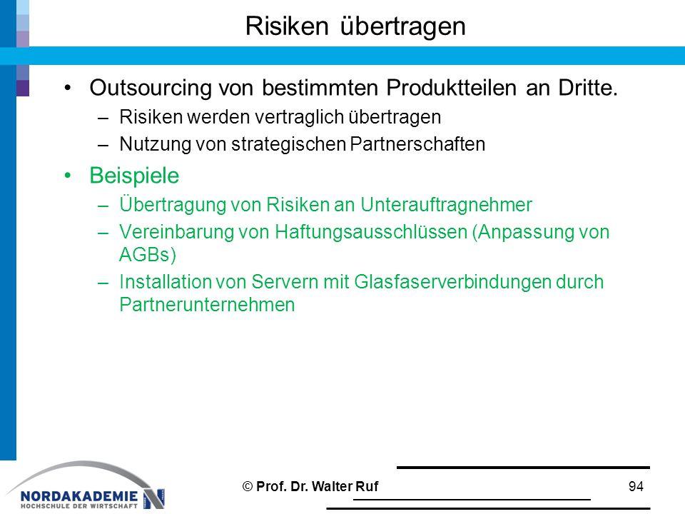 Risiken übertragen Outsourcing von bestimmten Produktteilen an Dritte. –Risiken werden vertraglich übertragen –Nutzung von strategischen Partnerschaft