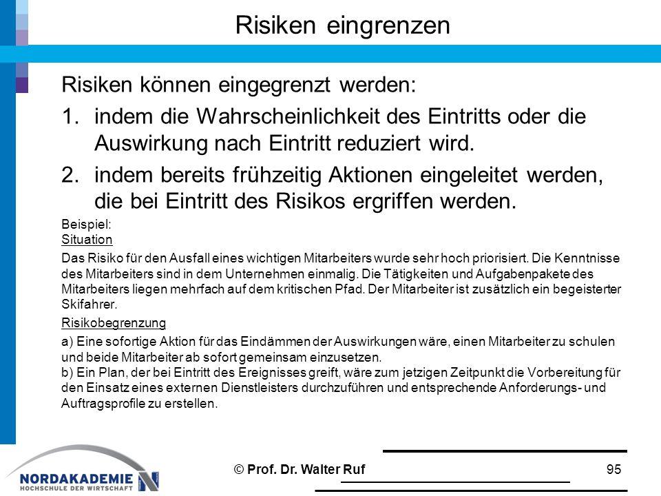 Risiken eingrenzen Risiken können eingegrenzt werden: 1.indem die Wahrscheinlichkeit des Eintritts oder die Auswirkung nach Eintritt reduziert wird. 2