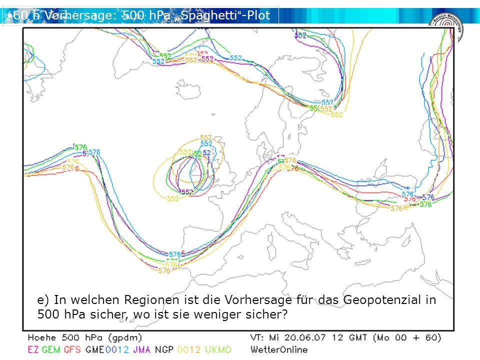 """60 h Vorhersage: 500 hPa """"Spaghetti -Plot e) In welchen Regionen ist die Vorhersage für das Geopotenzial in 500 hPa sicher, wo ist sie weniger sicher"""
